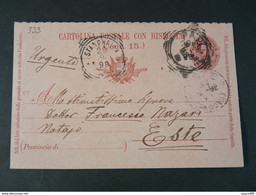 "333 ITALIA Regno Interi-1898- Storia Postale ""Effigie"" C. 7 1/2 USº (descrizione) - Stamped Stationery"