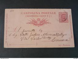 "330 ITALIA Regno Interi-1889- Storia Postale ""Effigie"" C. 7 1/2 USº (descrizione) - Stamped Stationery"