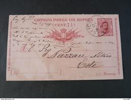 "329 ITALIA Regno Interi-1890- Storia Postale ""Effigie"" C. 7 1/2 USº (descrizione) - Stamped Stationery"