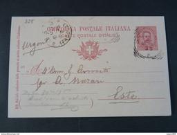 "328 ITALIA Regno Interi-1896- Storia Postale ""Effigie"" C. 10 USº (descrizione) - Stamped Stationery"