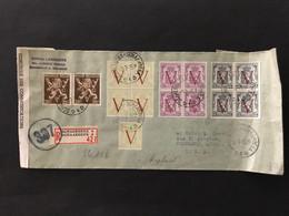 Briefomslag Heraldieke Leeuw Met Grote V + Klein Staatswapen Met V In Blokken Van 4 - Sin Clasificación