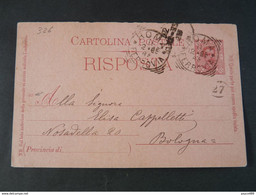"326 ITALIA Regno Interi-1885- Storia Postale ""Effigie"" C. 7 1/2 USº (descrizione) - Stamped Stationery"