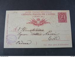"324 ITALIA Regno Interi-1891- Storia Postale ""Effigie"" C. 10 USº (descrizione) - Stamped Stationery"