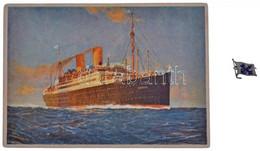 """Német Birodalom ~1990. """"Norddeutscher Lloyd"""" Hajózási Társaság Zománcbetétes Fém Jelvénye (16x21mm) + Az SS Berlin-t ábr - Sin Clasificación"""