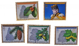 Svájc 1992. Svájci Bélyegek Képével Díszített, Bélyeg Alakú Kitűzők (5xklf), Műanyag Díszdobozban T:1 - Sin Clasificación