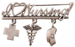 """DN """"I Love Nursing"""" Ezüstözött Fém Jelvény (függőkkel Együtt ~65x40mm) T:1-,2 - Sin Clasificación"""