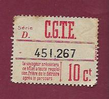 140121A TICKET CHEMIN DE FER TRAM METRO - SUISSE GENEVE CGTE F FORESTIER - Série D 451267 10 Ct - Europe