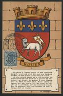 FRANCE N° 528 BLASON DE ROUEN SUR CARTE MAXIMUM EN 1954 (voir Description) - 1940-49