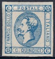REGNO ITALIA - 15 C. EFFIGIE VITTORIO EMANUELE II TIPO LITOGRAFICO 1863 - SASSONE 13 - NUOVO ** MNH - Neufs