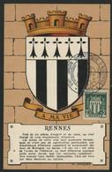 FRANCE N° 534 BLASON DE RENNES SUR CARTE MAXIMUM EN 1954 (voir Description) - 1940-49