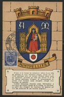 FRANCE N° 536 BLASON DE MONTPELLIER SUR CARTE MAXIMUM EN 1954 (voir Description) - 1940-49