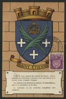 FRANCE N° 564 BLASON DE SAINT ETIENNE SUR CARTE MAXIMUM EN 1954 (voir Description) - 1940-49