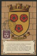 FRANCE N° 557 BLASON DE GRENOBLE SUR CARTE MAXIMUM EN 1954 (voir Description) - 1940-49