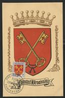 FRANCE N° 1047 ARMOIRIES DU COMTAT VENAISSIN SUR CARTE MAXIMUM EN 1955 (voir Description) - 1950-59