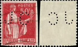 """FRANCE Ca.1932 - Yv.283 50c T.I Perforé """"JC"""" J. COUVREUR, Paris (Ancoper JC24) - Perforadas"""
