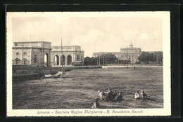 Cartolina Livorno, Barriera Regina Margherita-R. Accademia Navale - Livorno