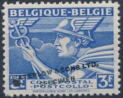 [** SUP] Type TR288 - 3F Bleu 'Belgique-Belgie' Avec Annulation Specimen De La Firme Waterlow And Sons. Rare - Zonder Classificatie