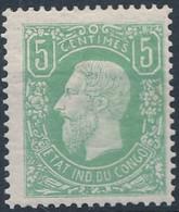 [* SUP] N° 1, 5c Vert. Infime Trace - Cote: 20€ - 1884-1894 Vorläufer & Leopold II.