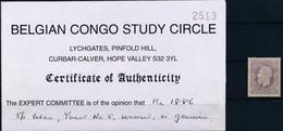 [* SUP] N° 5, 5F Lilas, Bon Centrage Et Certificat Photo Du Belgian Congo Study Circle - Cote: 785€ - 1884-1894 Vorläufer & Leopold II.