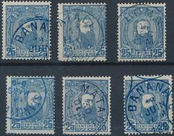 [O TB] N° 8, 25c Bleu - Lot De 6 Ex Avec Oblitérations Choisies - 1884-1894 Vorläufer & Leopold II.