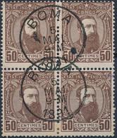 [O SUP] N° 9, 50c Brun-rouge En Bloc De 4 Superbement Obl 'BOMA' - Cote: 176€ - 1884-1894 Vorläufer & Leopold II.