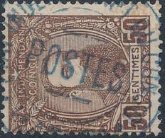 [O TB] N° 9, 50c Brun-rouge Avec TB Obl Centrale - Cote: 44€ - 1884-1894 Vorläufer & Leopold II.