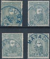[O TB] N° 10, 50c Gris - Lot De 4 Ex Avec Oblitérations Choisies - 1884-1894 Vorläufer & Leopold II.