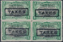 [* SUP] TX17, 5c Vert En Bloc De 4 - Tirage Des Princes. Rare - 1894-1923 Mols: Mint/hinged