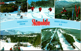 New Hampshire White Mountains North Conway Greetings From Skimobile Multi View - White Mountains