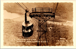 New Hampshire Cannon Mountain Aerial Passenger Tramway Passing First Tower Real Photo - White Mountains