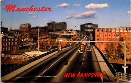 New Hampshire Manchester Skyline From Granite Street Bridge 1995 - Manchester
