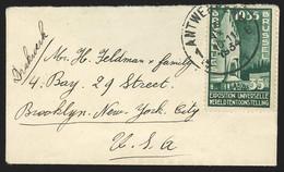 Envel Carte De Visite Affr N°396 D'ANTWERPEN/1934 Pour Les USA - Cartas