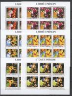 KV009 2003 S. TOME E PRINCIPE FAUNA BIRDS PARROTS FLOWERS 6SET MNH - Parrots