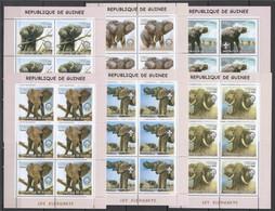 KV265 2002 GUINEA FAUNA WILD ANIMALS ELEPHANTS !!! 6SET MNH - Elephants