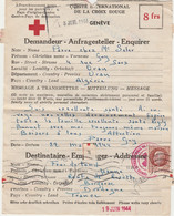 LETTRE MESSAGE COMITE INTERNATIONAL  CROIX ROUGE GENEVE 18 JUILLET 1944 - VICHY - BERGERAC - TIMBRE BERSIER - 2 SCANS - WW II