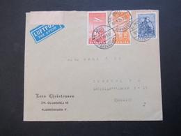 Dänemark 1940 Zensurbeleg OKW Zensurstreifen Geprüft Air Mail Luftpostmarken Nr. 217 / 218 Umschlag Lars Christiansen - Cartas