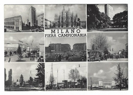8297 - MILANO FIERA CAMPIONARIA 9 VEDUTE ANIMATISSIMA AUTOMOBILI 1953 - Milano (Milan)