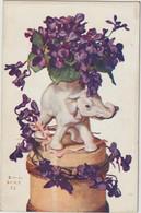 Eléphant  Blanc - Violettes - Bert ( E.1606) - Elephants