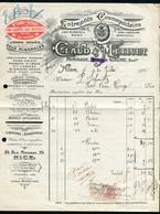 BELLE  ENTETE  DE  FACTURE  DU  31  JUILLET  1915 , AVEC  TIMBRE  FISCAL , A  ETUDIER .TIR - 1900 – 1949