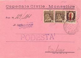 1945 RSI Da Ospedale Civico -Monselice Per Tribano - Marcofilía