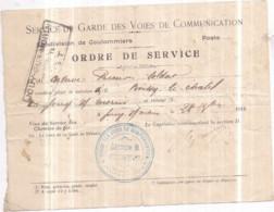 Dépt 77 - Service De Garde Des Voies De Communication (Coulommiers) Ordre De Service : BOISSY-LE-CHÂTEL à JOUY-SUR-MORIN - Coulommiers