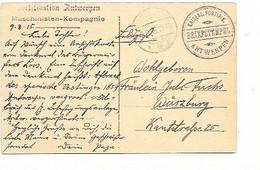 "SH 0801. CP D' ANVERS - Feldpost Cach. KAISERL.FORTIFIK./ANTWERPEN/BRIEFSTEMPEL + GRIFFE ""Maschinisten.."" - Army: German"