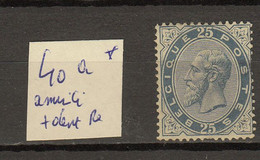 Belgie - Belgique Ocb Nr :  40a (*) Aminci (zie Scan) - 1883 Leopoldo II