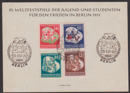 Berlin Gedenkblatt 3. Weltfestspiele Der Jugend Und Studenten DDR 289/92 SoSt. 20.8.51 - Cartas
