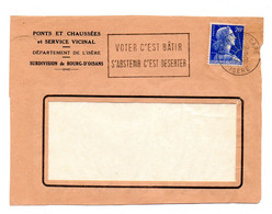 ISERE - Dépt N° 38 = GRENOBLE GARE 1958 =  FLAMME SECAP  ' Voter C'est BATIR / S'abstenir C'est DESERTER ' - Maschinenstempel (Werbestempel)