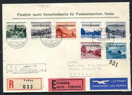 VE0461 LIECHTENSTEIN 1947 FDC Raccomandata Espresso Via Aerea Affrancata Con Serie Completa Francobolli Di Servizio, Da - Covers & Documents