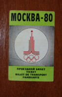Travel Ticket Moscow-80 Olympics. Olympic Games. - Uniformes Recordatorios & Misc