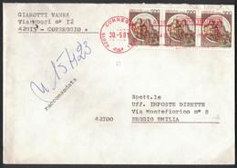 IK168     Storia Postale 1983 Racc. Da Correggio  Per Reggio Emilia Striscia Castelli £.200 - 1981-90: Marcofilia