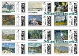 France 2018 Monet, Caillebotte, Renoir, Pissaro, Degas, Van Gogh, Manet, Cézanne - Art Paint Painting TimbrEnLigne 12v - Personalisiert