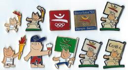 JO BARCELONE 1992 - LOT De 10 PIN'S DIFFERENTS - B7 - DRAPEAUX - Verso : DIVERS - Jeux Olympiques